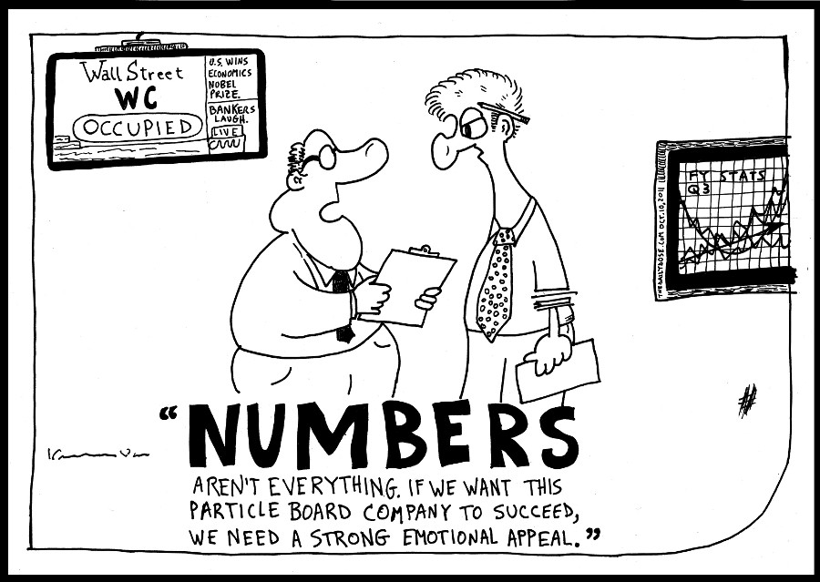 business numbers editorial cartoon emotional appeal comic strip caricature by laughzilla for the daily dose