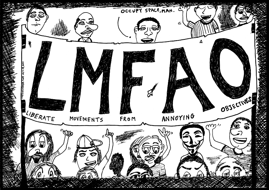 lmfao political cartoon occupywallstreet comic strip caricature by laughzilla for the daily dose