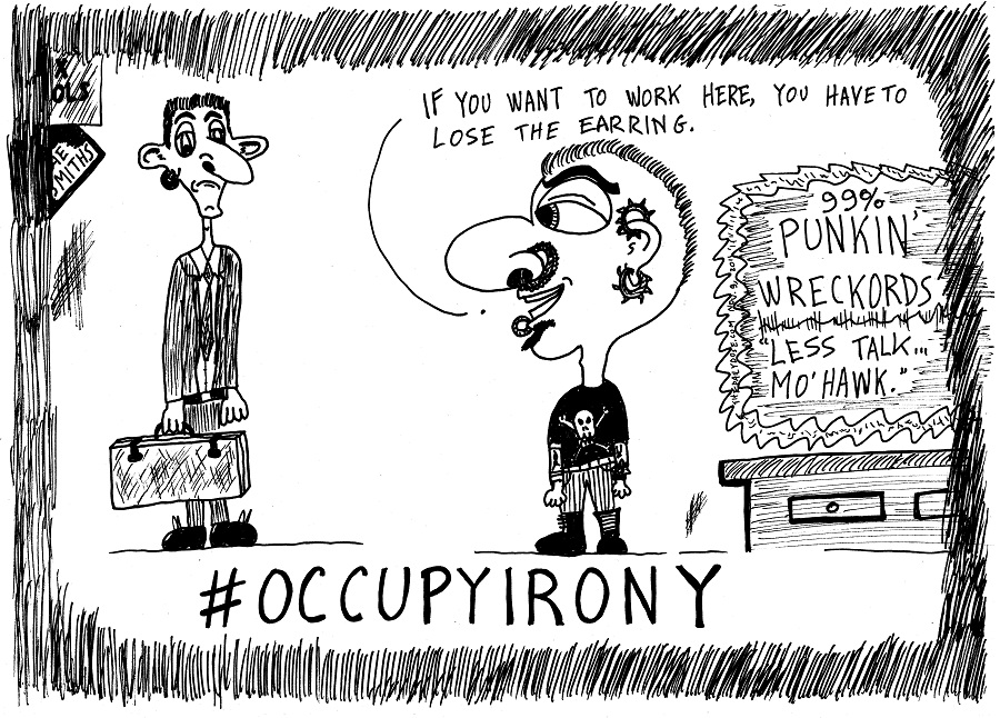 occupy irony editorial cartoon by laughzilla for thedailydose.com