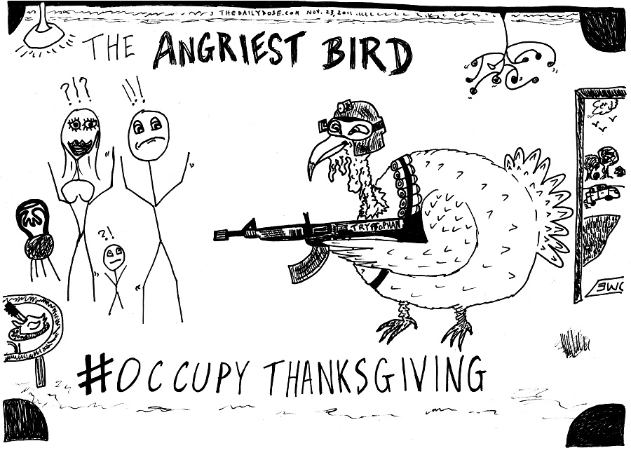 occupy thanksgiving editorial cartoon by laughzilla for thedailydose.com