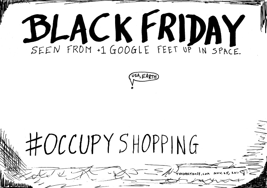 occupy shopping editorial cartoon by laughzilla for thedailydose.com
