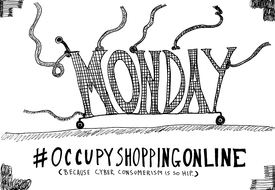 occupy shopping online cyber monday  editorial cartoon by laughzilla for thedailydose.com