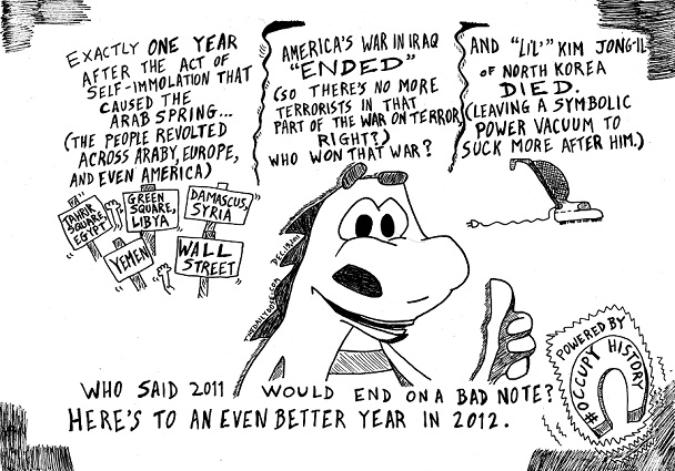 laughzilla cartoon about the passing of north korean leader kim jong-il and other 2011 history events for thedailydose.com