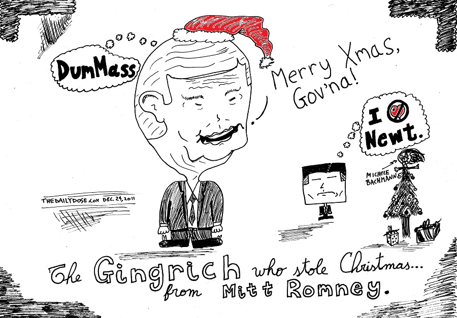 the gingrich who stole christmas #occupychristmas editorial cartoon by laughzilla for the daily dose