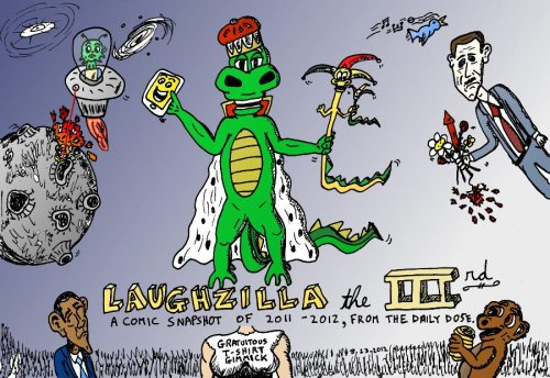 Graphic book cover from Laughzilla the IIIrd