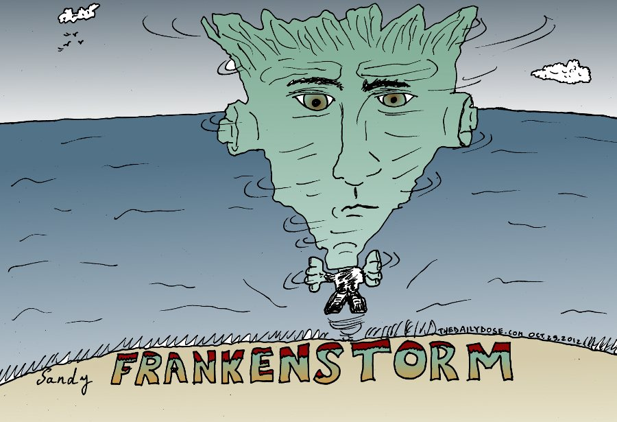 Hurricane Sandy Frankenstorm Caricature