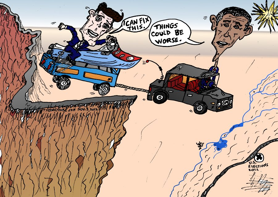 Obama Romney Driving Off A Cliff