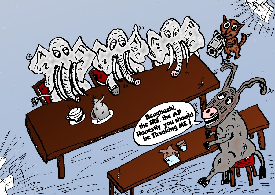 Editorial Cartoon Fox News Congressional Hearings Republican Elephants Democrat Donkey Benghazi IRS AP Scandals