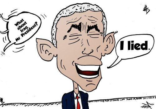 obama caricature on america's position after leaving iraq june 17, 2014