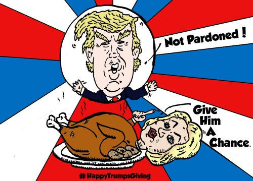 """political cartoon feat. President-Elect Donald """"The Don"""" Trump and his defeated opponent Hillary Clinton as the roasted turkey"""