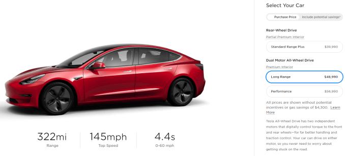 Tesla Model 3 AWD long-range price.