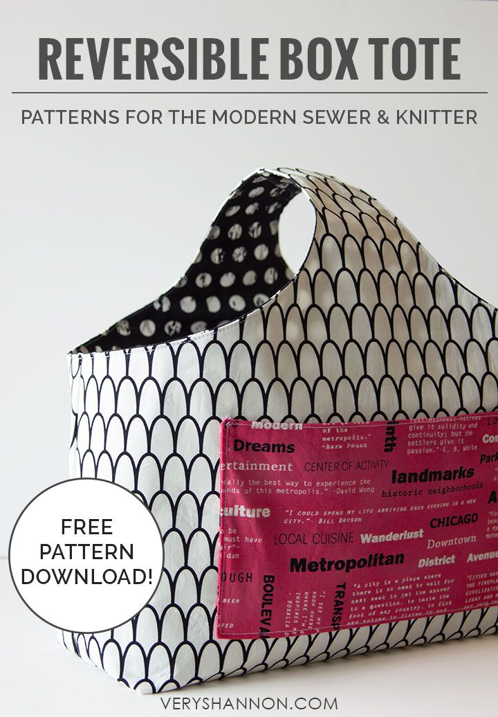 Free Reversible Box Tote Pattern