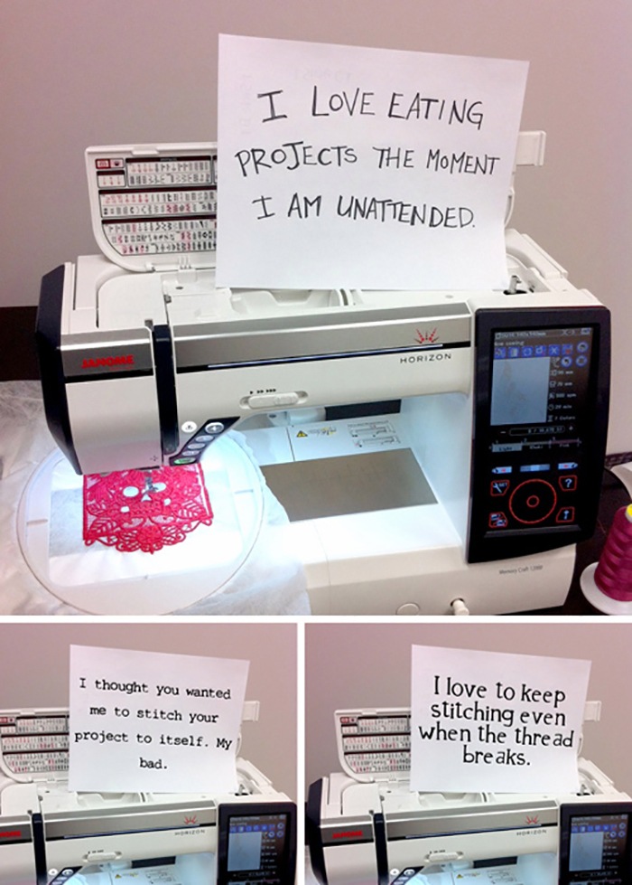 Hilarious! Sewing machine shaming. Click to see more.