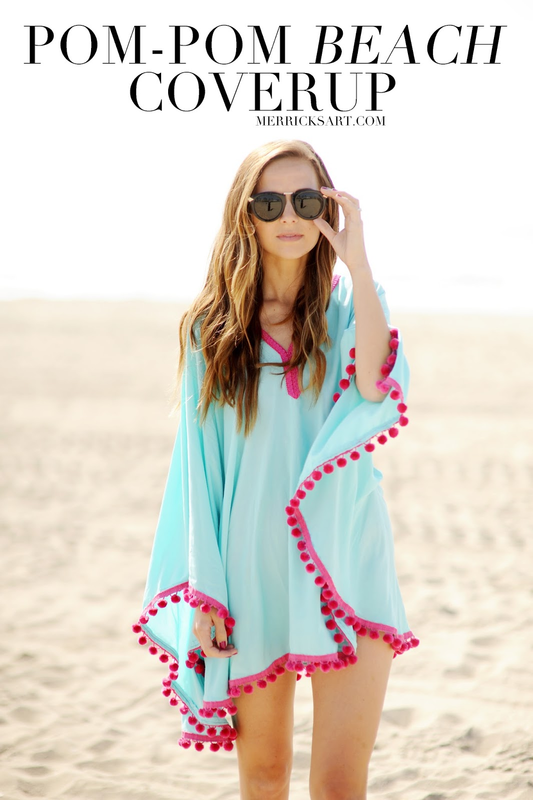 DIY pom pom poncho beach cover up