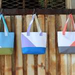 Asymmetrical Color Block Tote