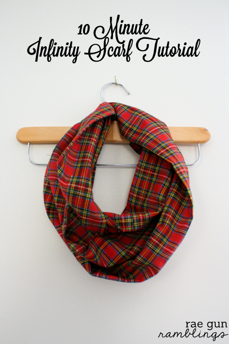 THis is great! Make a cute infinity scarf with just 1/2 yard of fabric and 10 minutes. DIY sewing tutorial