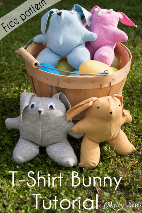 Sew Easter Bunnies from old T-shirts - such a great upcycle from Melly Sews