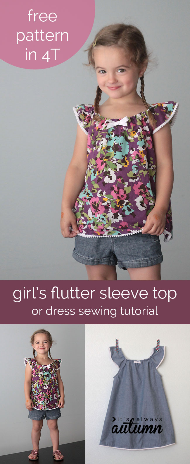 Free Flutter Sleeve Top Or Dress Pattern The Daily Seam