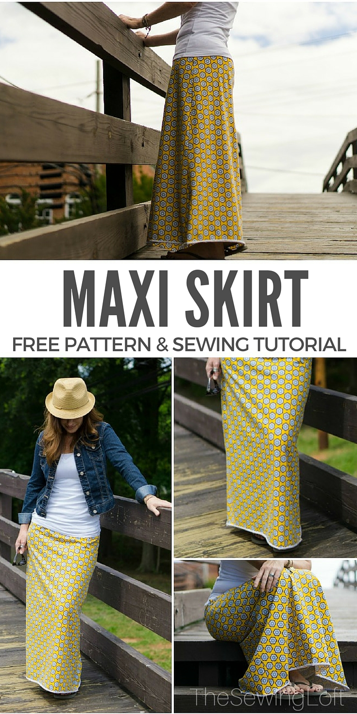Update your closet with an easy maxi skirt pattern. This free pattern and step by step tutorial will show you how to create a personal pattern and sew it together.