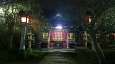 Traditional Japanese lanterns and the newer electric lights. They still fit quite well into the surrounding.