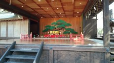 The stage, which is occasionally used for celebrations, like on New Year's is showcase to a few Hina dolls. (Another post about these is coming soon, as part of another shrine.)