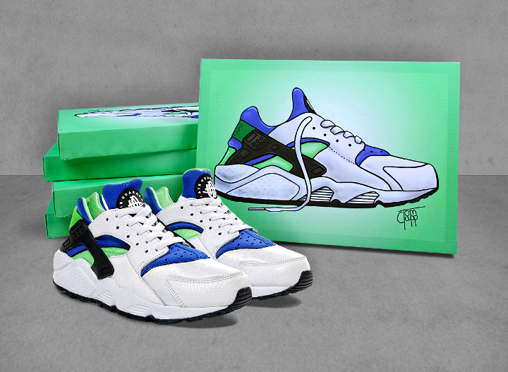 sports shoes b765d 394e1 ... where can i buy nike air huarache scream green canvases by tom clapp  for efa50 c395a ...