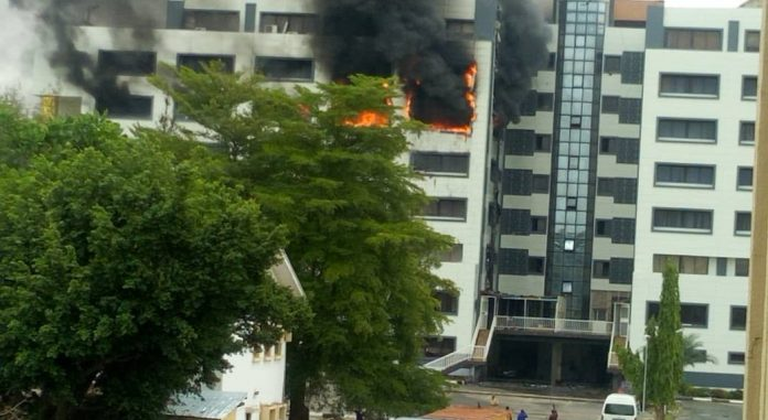 BREAKING: Nigeria's Treasury House in Anuja on fire