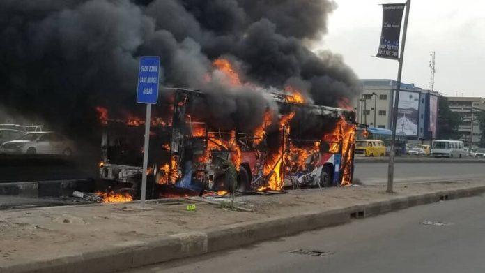 BRT bus bursts into flames on Ikorodu road 3