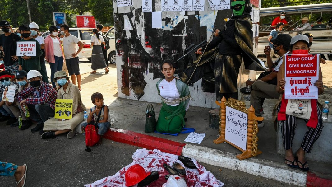 Two people dead in Myanmar anti-coup protest shooting 3