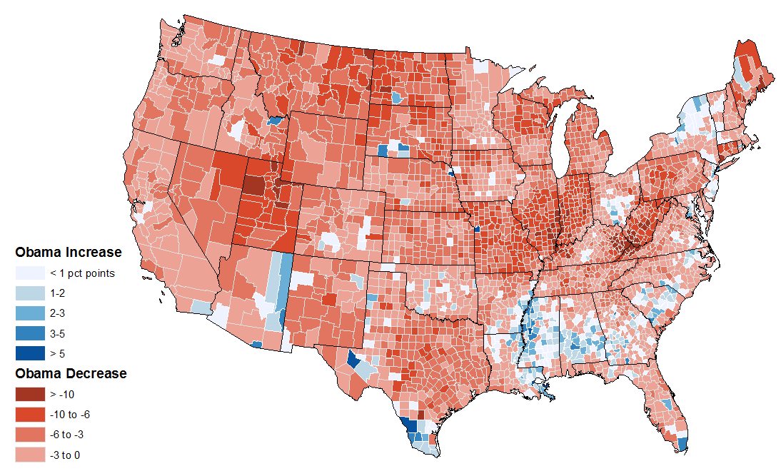 Mapping Obamas Election Performance By County In Vs - 2008 and 2012 us presidential election results maps