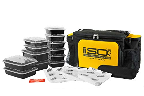 Isolator Fitness 6 Meal ISOBAG Meal Prep Management Insulated Lunch Bag  Cooler with 12 Stackable Meal Prep Containers e703f74618ab0