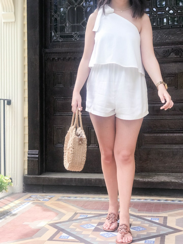 one shoulder white romper 10