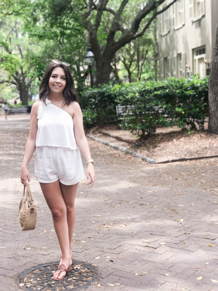 one shoulder white romper 2