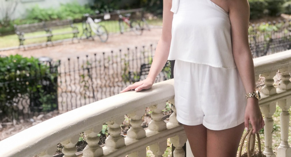 one shoulder white rompers