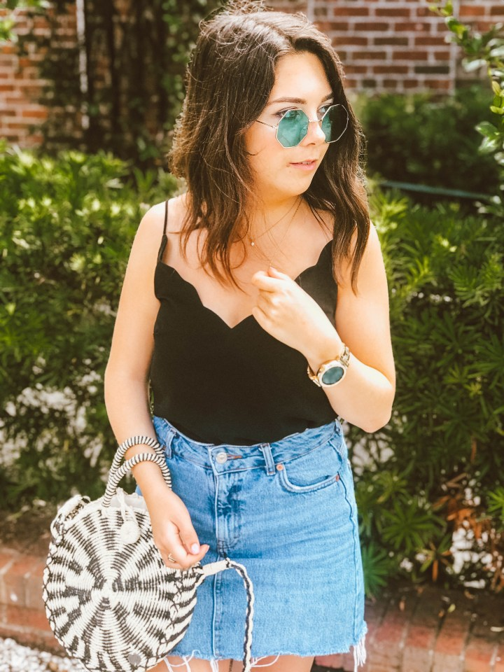 black cami + rose gold birkenstocks 4