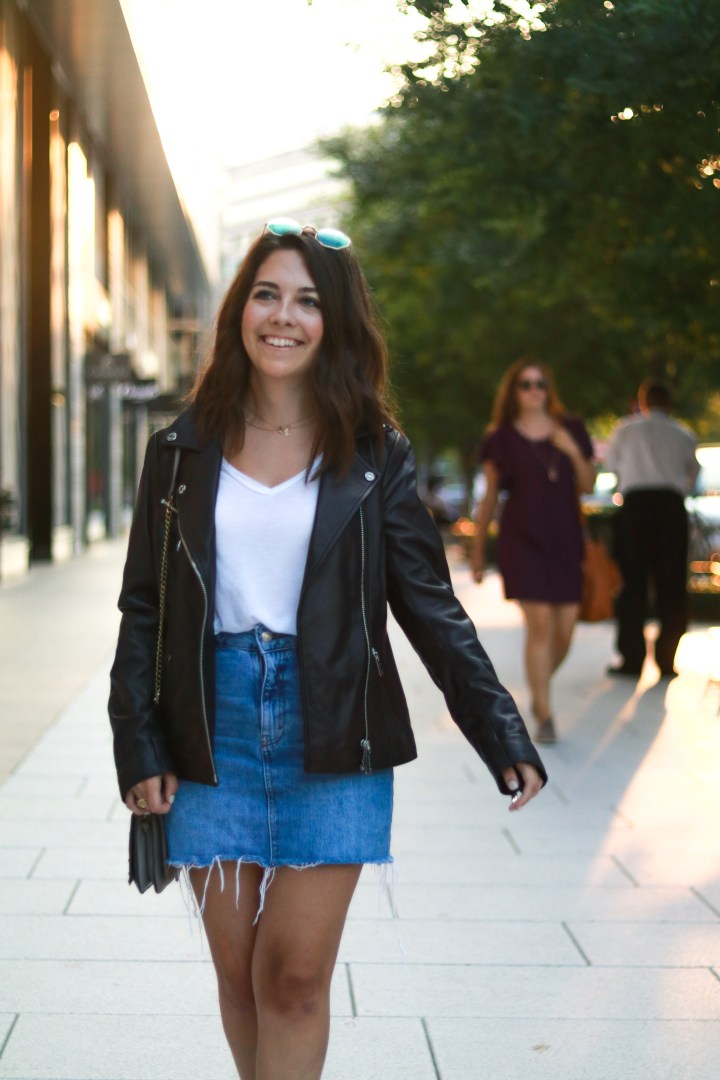 leather moto jacket, denim skirt, leather booties