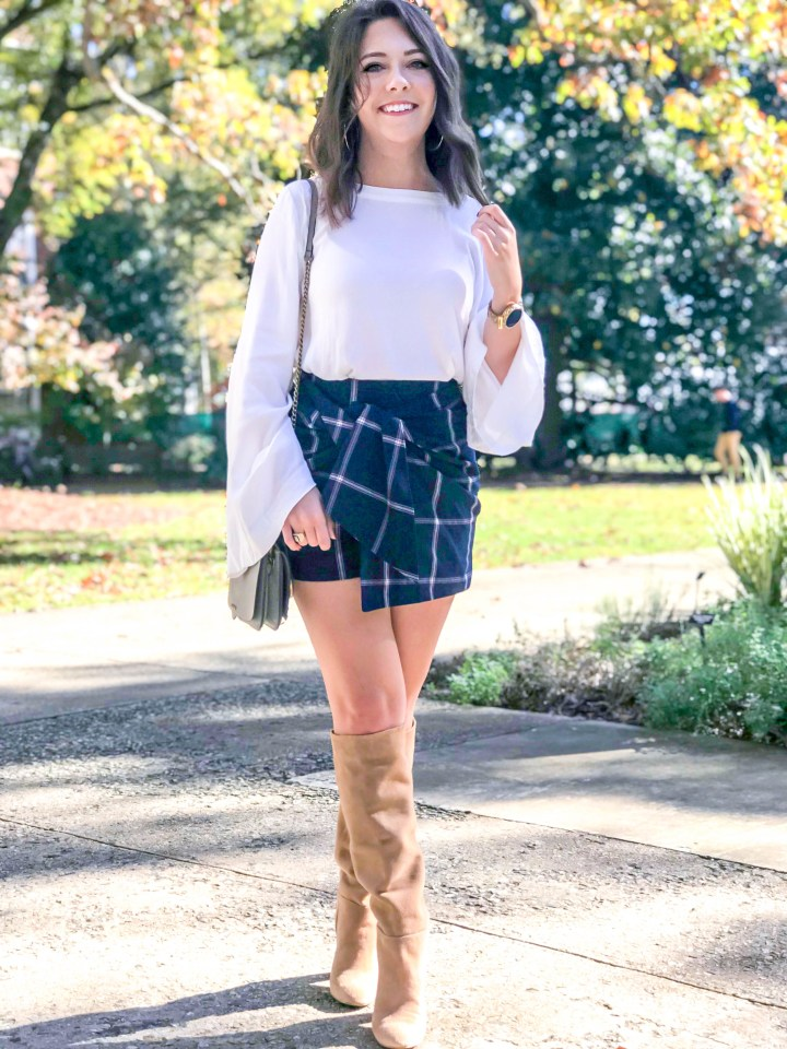Plaid Skort and Knee High Boots