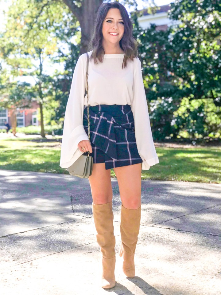 plaid skirt + knee high boots 8