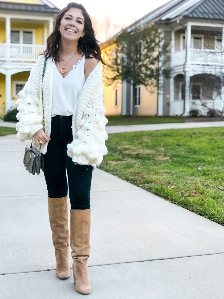knit sweater and black jeans 2