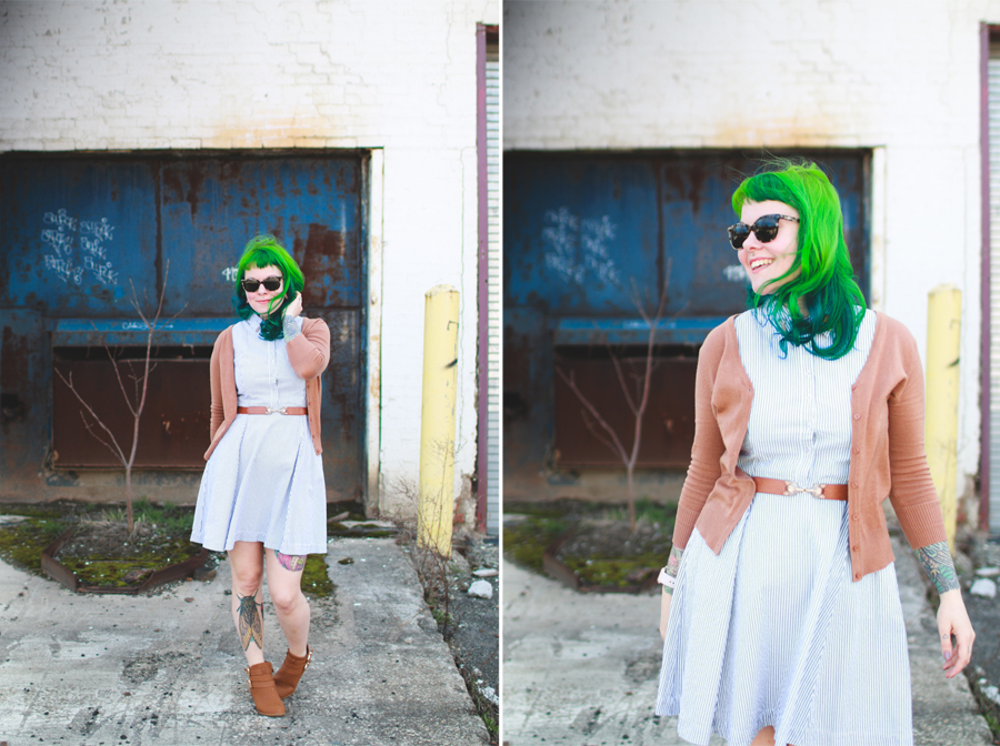 what I wore, cleveland fashion blog, green hair, cleveland,