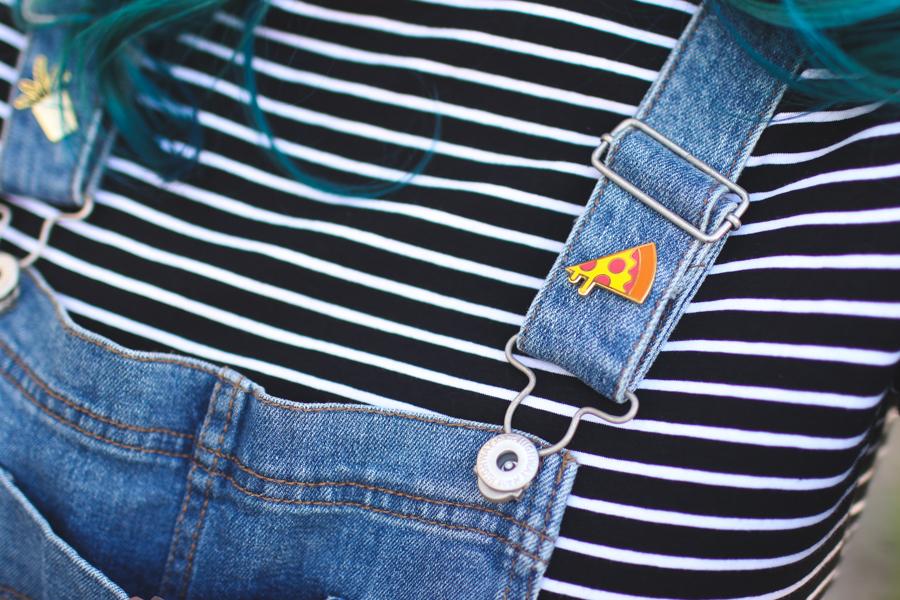 moorea seal, overalls, pizza pin