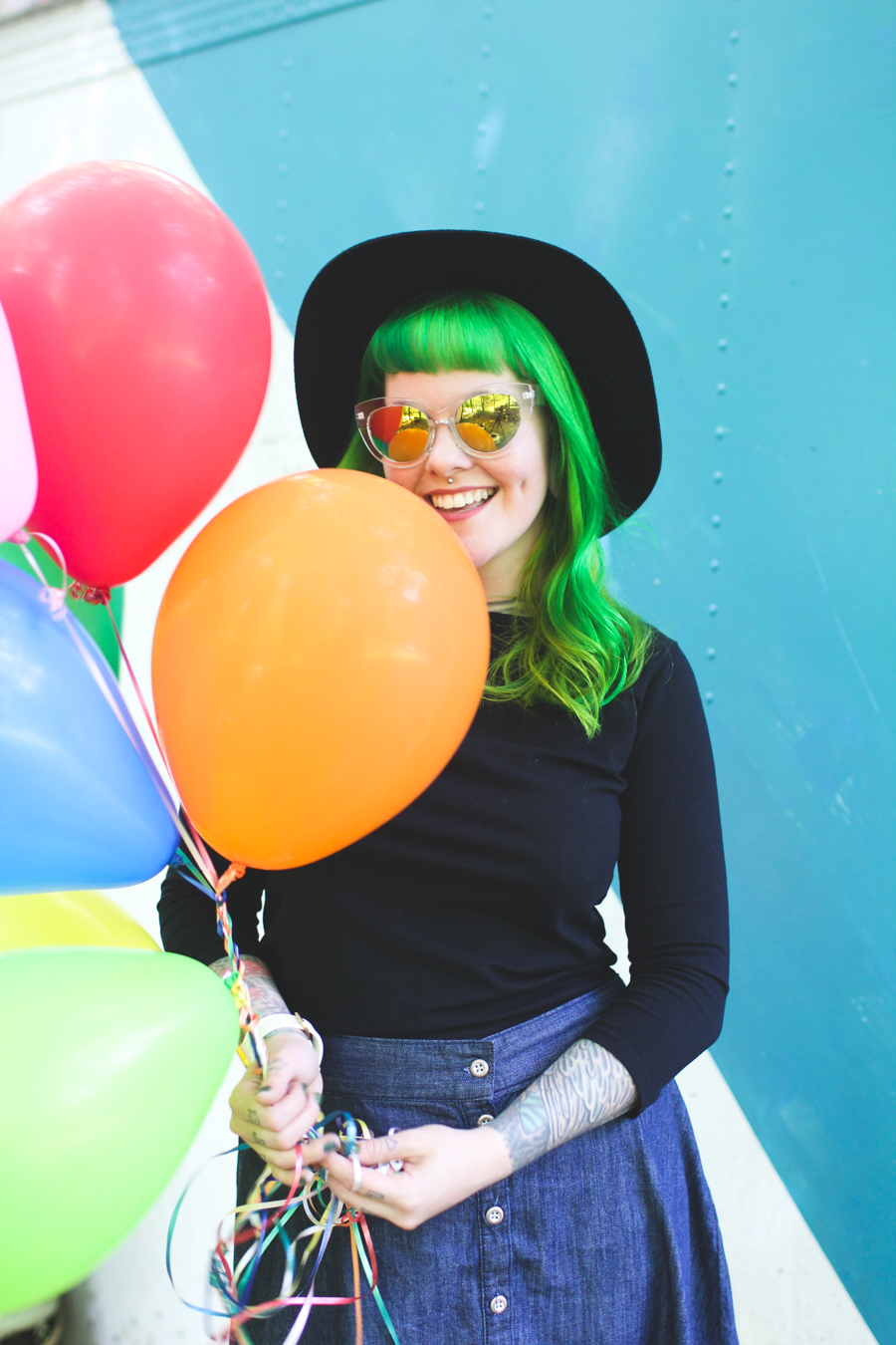 the dainty squid, birthday, balloons, green hair, colorful
