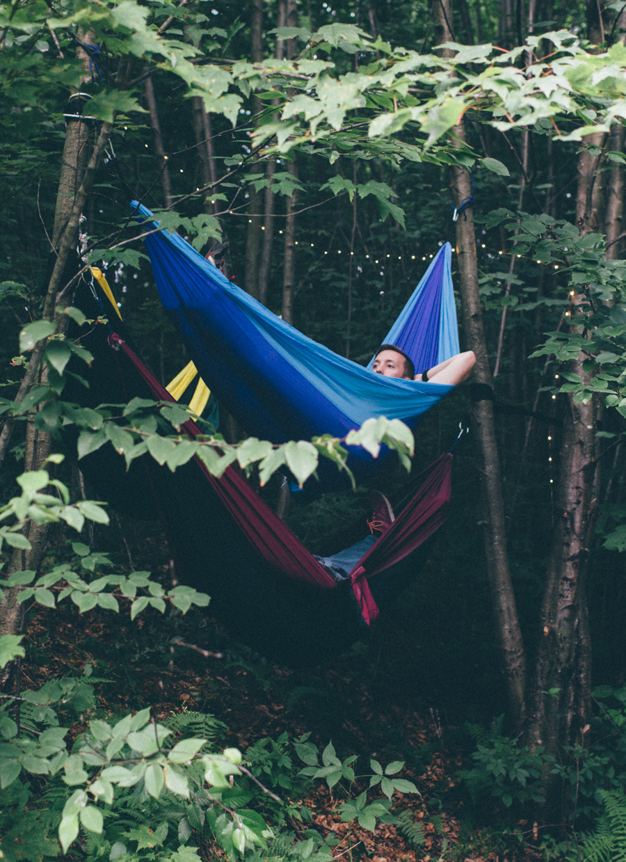 camping in hammocks