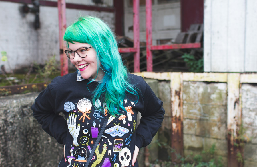warby parker louise, dainty squid, green hair, wicked clothing