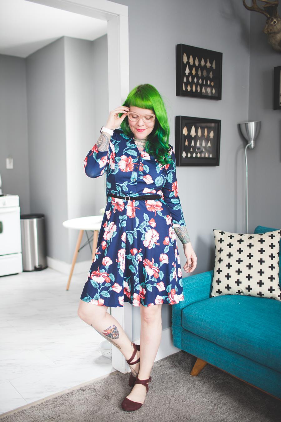 grace karin dress, green hair, punky colours, dainty squid