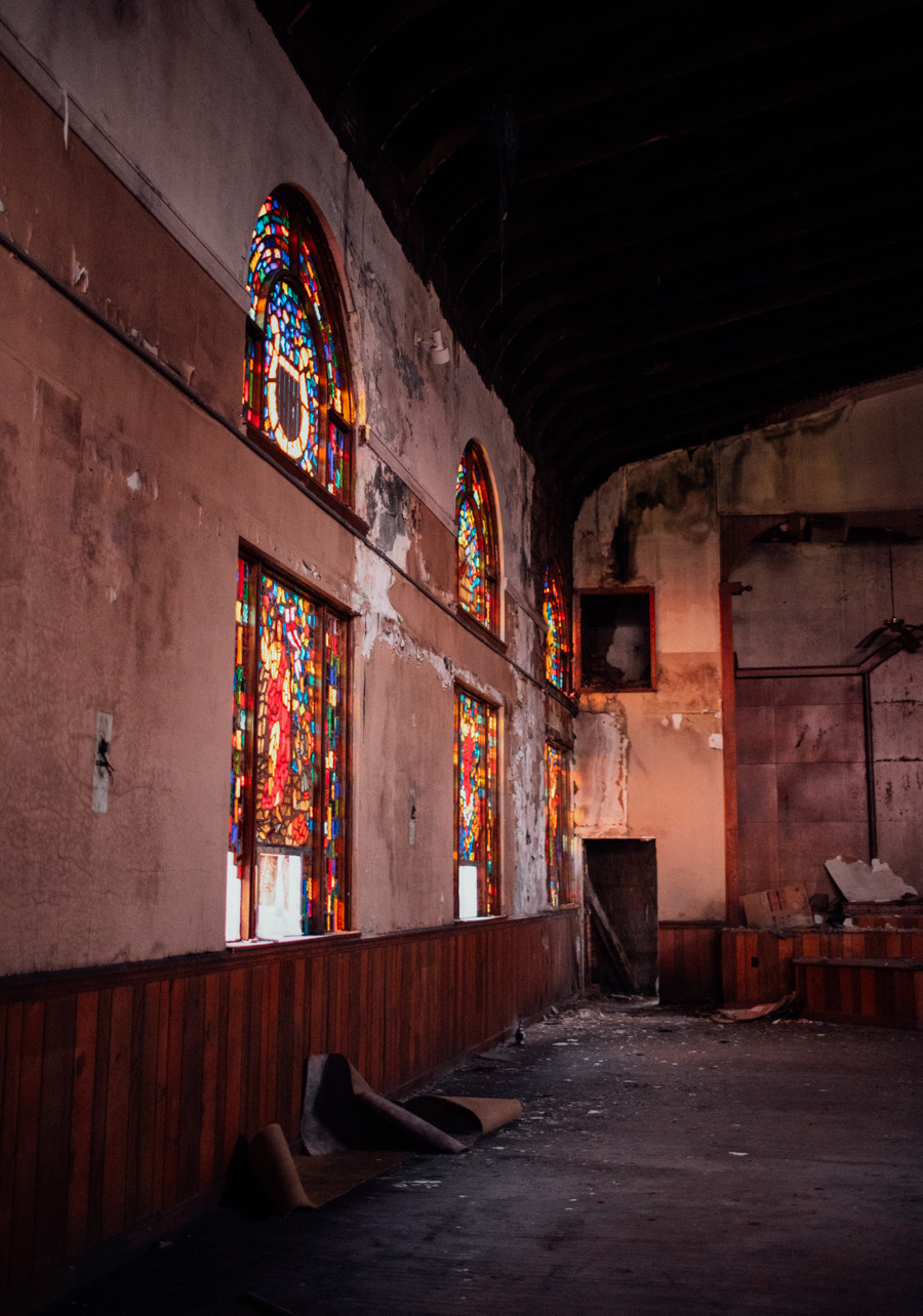 abandoned church with stained glass windows
