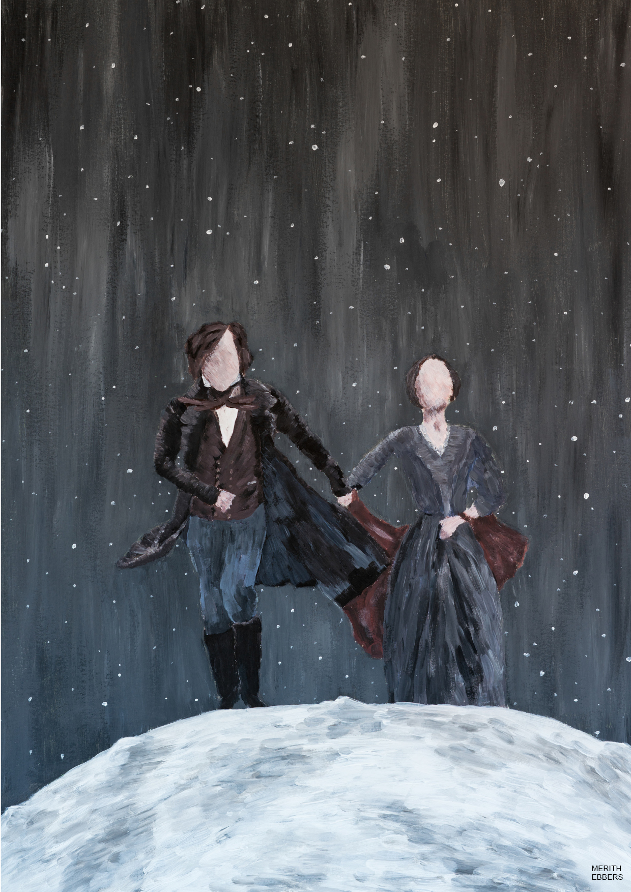 An acrylic painting of Jane Eyre and Mr. Rochester walking hand in hand on the moon