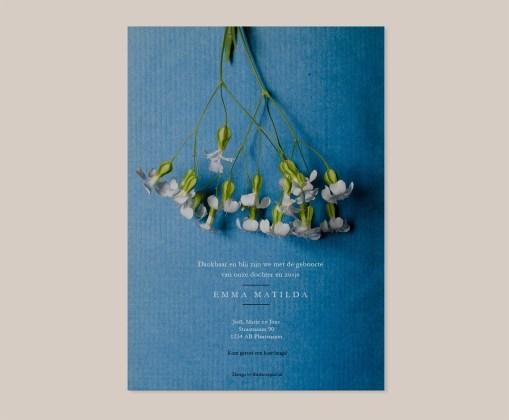 Geboortekaart Bloemen wit boek papier vintage