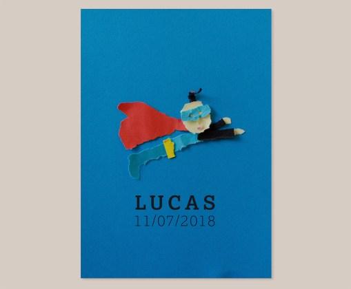 Superman geboortekaart baby jongen cape