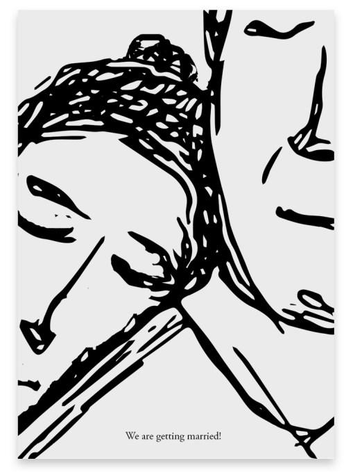 """Trouwkaart """"Sleeping"""" // Digitale download // Drukklaar // Zwart-Wit // Simpel // Minimalistisch // Lijntekening // Tekening // Illustratie"""